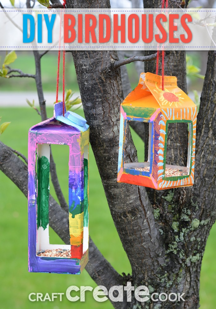 Craft create cook birdhouse crafts for kids craft for Easy recycling ideas