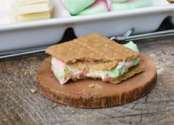 Using white chocolate and watermelon marshmallows, you'll be surprised how tasty these gourmet smores really are.