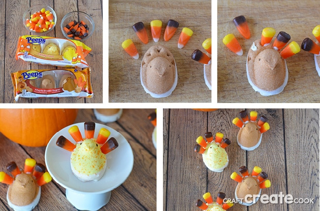 These turkey marshmallow peeps will be perfect for your Thanksgiving table!