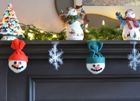 Our homemade snowman decorations work well together as home decor or by themselves on the Christmas tree.