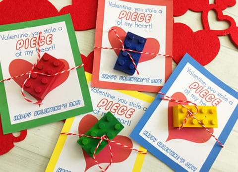 Your little Lego fans will love these DIY Lego Crayons - Free Printable Lego Valentine Cards.