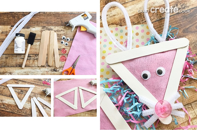 This Easy Easter Bunny Popsicle Stick Craft For Kids will be the perfect addition to the Easter Chick Popsicle Stick Craft we made last week.