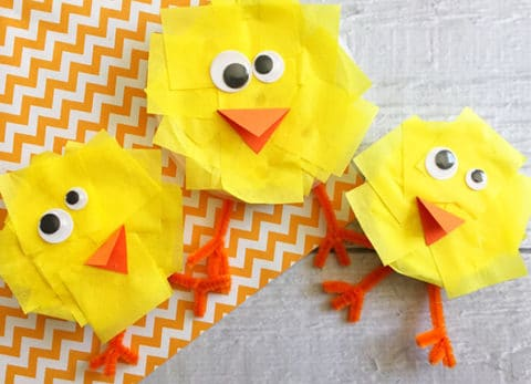 Teach your kids how to recycle and craft at the same time with our adorable Recycled Lids Easter Chick Craft.