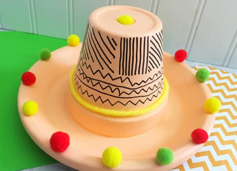 Have a fiesta and celebrate Mexican culture with this fun Cinco de Mayo Terra Cotta Pot Sombrero.