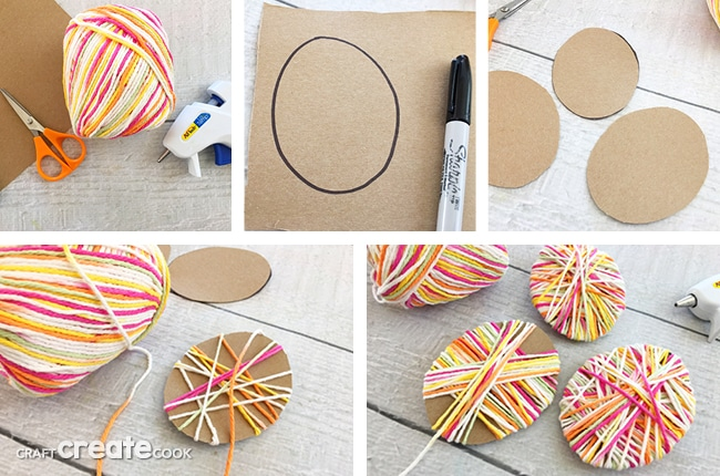 If you're looking for fun and easy Easter crafts with items you probably already have, these Easter Crafts For Kids Yarn Eggs will be perfect.