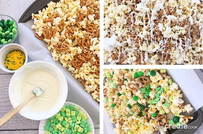 This St. Patrick's Day Leprechaun Snack Mix is simple to make and with its salty and sweet flavor it'll keep you coming back for more.